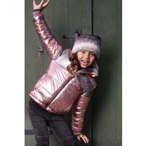 meisjes winterjas reversible jacket with gradient stripe fur and metallic shell light pink
