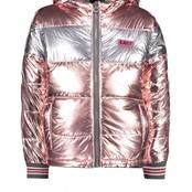B.Nosy meisjes winterjas reversible jacket with gradient stripe fur and metallic shell light pink
