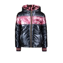 meisjes winterjas reversible jacket with pink panther fur and metallic shell ink blue