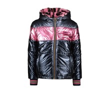 B.Nosy meisjes winterjas reversible jacket with pink panther fur and metallic shell ink blue