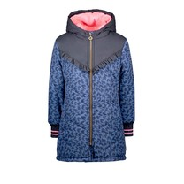 meisjes winterjas parka with aop flame and ruffle detail on chest blue flame