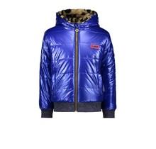 B.Nosy meisjes winterjas reversible jacket with leopard fur and artwork on backside cobalt