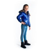 meisjes winterjas reversible jacket with leopard fur and artwork on backside cobalt