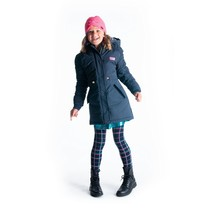meisjes winterjas parka with elastic detail at sleeves and batch on chest oxford blue