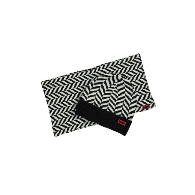 B.Nosy meisjes muts + colsjaal zigzag black
