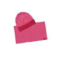 meisjes muts + colsjaal zigzag shocking pink