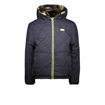 ongens winterjas reverseble jacket with diamond stitching and army panther teddy oxford blue