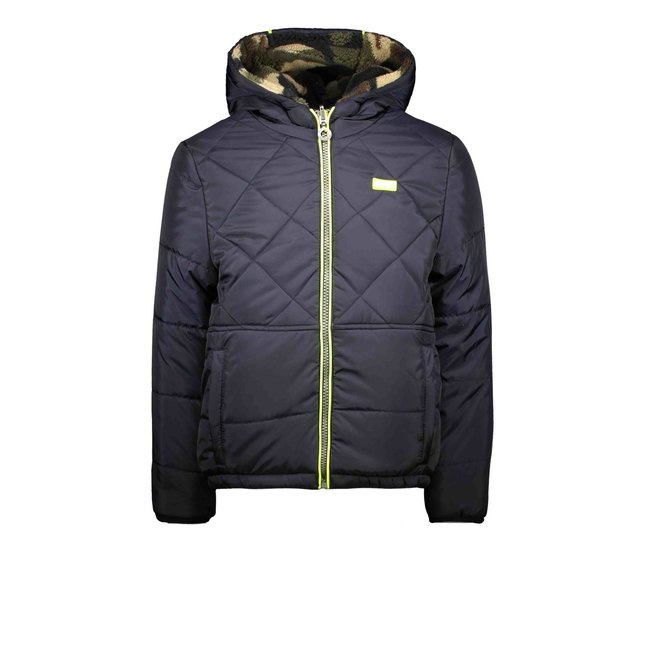 B.Nosy jongens winterjas reverseble jacket with diamond stitching and army panther teddy oxford blue