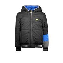 jongens winterjas reverseble jacket with contrast sleeve-end black