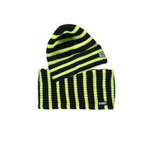 B.Nosy jongens muts + colsjaal striped safety yellow