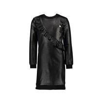 jurk glitter fleece & ribknit black