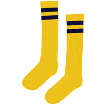 kniekousen yellow/navy stripe
