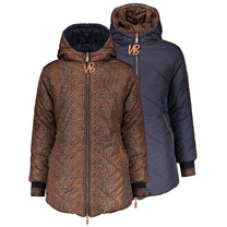 winterjas Buzzy reversible long jacket aop feather fur- uni navy leather brown