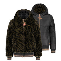 winterjas Bazz B zebra furry reversible bomber with hood army green
