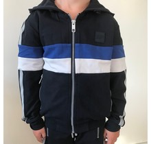 Antony Morato vest with hood and stripes blue ink