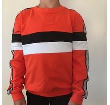 Antony Morato trui fleece round collar with contrast stripes orange