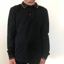 longsleeve polo with logo on neck black