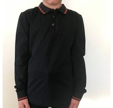Antony Morato longsleeve polo with logo on neck black