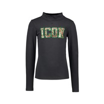 meisjes longsleeve with coll and fancy chest artwork black
