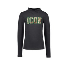 B.Nosy meisjes longsleeve with coll and fancy chest artwork black