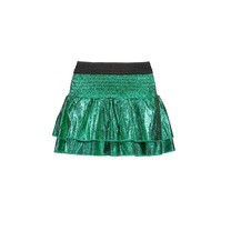 rok foil crack leather with smocked wb and layers jade green