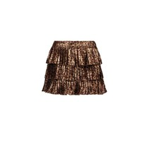 rok fake panther leather plissé leopard leather