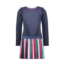 jurk with vertical striped satin skirt and zipperclosure
