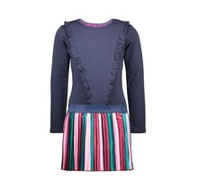 B.Nosy jurk with vertical striped satin skirt and zipperclosure