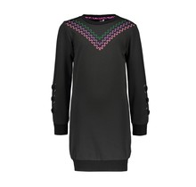 B.Nosy jurk sweat with fancy sleeves and big embro on chest black