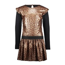 jurk panther fake leather with ruffle around armhole leopard leather