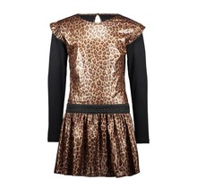 B.Nosy jurk panther fake leather with ruffle around armhole leopard leather
