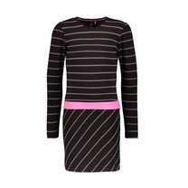 jurk with vertical striped top and slanted striped skirt YDS sparkling stripe