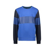 jongens trui with vertical printed stripes on body and sleeves nautical blue