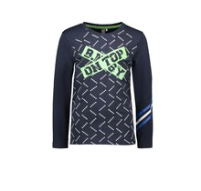 B.Nosy jongens longsleeve with aop body, solid sleeves and stripes at sleeve-end