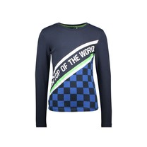 jongens longsleeve 2-panel with aop check part and slanted artwork oxford blue