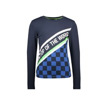 B.Nosy jongens longsleeve 2-panel with aop check part and slanted artwork oxford blue