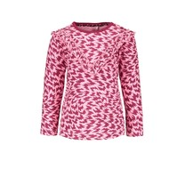 meisjes longsleeve flame aop with v-shaped ruffle on chest