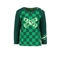 jongens longsleeve raglan with check print body and plain sleeves top check green