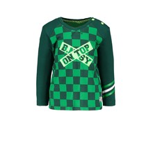 B.Nosy jongens longsleeve raglan with check print body and plain sleeves top check green
