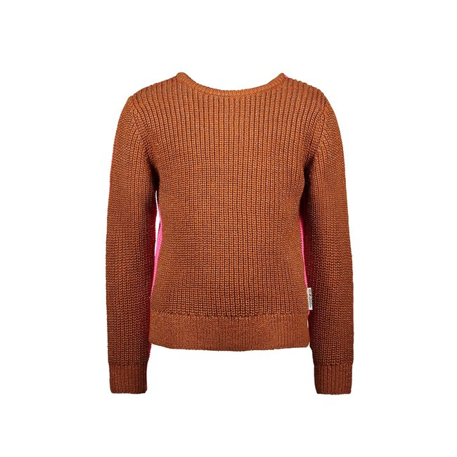 B.Nosy meisjes trui heavy knitted with lurex pink glo
