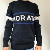 Antony Morato trui with front jacquard blue ink