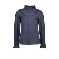 meisjes blouse rib with ruffle oxford blue
