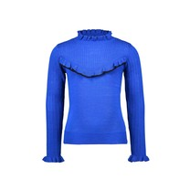meisjes trui knitted with v-shaped ruffle cobalt blue