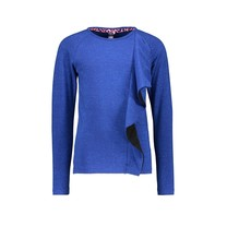 meisjes longsleeve with vertical 2-color ruffle cobalt blue