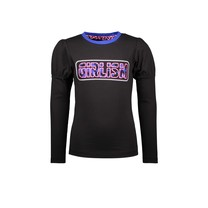 meisjes longsleeve with puffed sleeves and chest artwork black