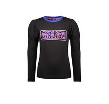 B.Nosy meisjes longsleeve with puffed sleeves and chest artwork black