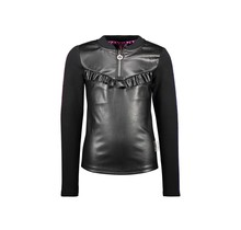 B.Nosy meisjes blouse with bonded fabric frontside and ruffle at chest black