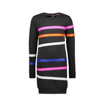 jurk sweat with printed stripes on body and sleeves black