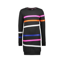 B.Nosy jurk sweat with printed stripes on body and sleeves black