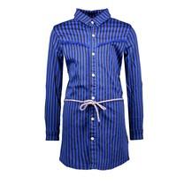 jurk denim with printed stripe and braided belt cobalt blue